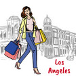 woman with shopping bags on rodeo drive vector image vector image
