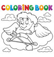 coloring book cupid topic 7 vector image