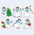 set of cartoon snowman vector image
