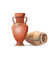 Amphora Vases Isolated Clay Jars Egyptian Style vector image