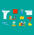 bath equipment icons shower flat style colorful vector image