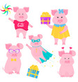 boar walks with a windmill toy cute pig in vector image vector image