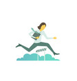 businesswoman jumps overcoming the barrier vector image