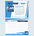 calendar planner for february 2019 fish vector image vector image
