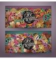 Cartoon line art doodles ice cream banners vector image vector image