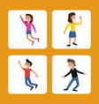 cartoon man and woman dancing happy vector image