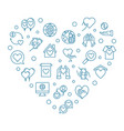 charity and donation icons in heart shape vector image