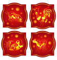 chinese horoscope set monkey rooster dog pig vector image vector image