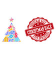 christmas sale composition of mosaic and scratched vector image