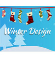 christmas socks on snowfall background vector image vector image