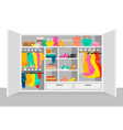 colorful woman wardrobe elements concept vector image vector image