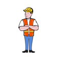 construction worker with arms folded vector image vector image