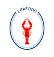 crayfish logo red river lobster langoustine or vector image
