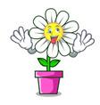crazy daisy flower mascot cartoon vector image