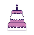 cute purple birthday cake cartoon vector image vector image