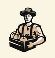 farmer with vegetables vector image vector image