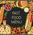 fast food menu restaurant banner vector image vector image