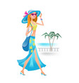 girl on summer day is resting on tourist trip vector image