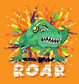 green dinosaur in headphones vector image