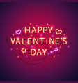 happy valentines day neon sign vector image vector image