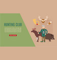 hunt club web template banner with hunter holding vector image vector image