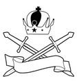 imperial crown and two crossed swords text banner vector image