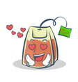 in love tea bag character cartoon vector image vector image