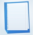 Lined exercise sheets and sheet of blue paper with vector image