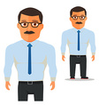 Man with glasses in white shirt with blue Tie vector image vector image