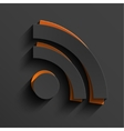 modern rss feed sign with shadow vector image