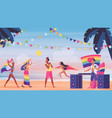 people in lgbt pride beach party vector image