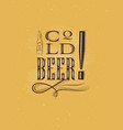 poster lettering cold beer mustard vector image vector image