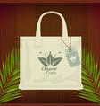 premium quality organic bag mockup for shopping vector image