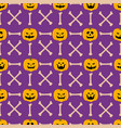 pumpkin face seamless pattern vector image