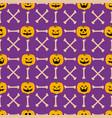 pumpkin face seamless pattern vector image vector image