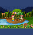 rainy day with two kids in rowboat vector image vector image