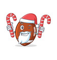 santa american football character cartoon with vector image vector image