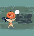 scarecrow jack lantern pumpkin happy halloween vector image
