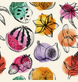 seamless pattern with tropical flowersand fruit vector image