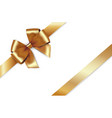 shiny golden satin ribbon gold bow vector image vector image