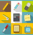 stationery related icon set flat style vector image vector image