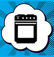 stove sign black icon in bubble on blue vector image