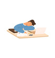 tired student guy sleeping on table in front of vector image
