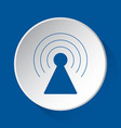 transmitter tower - blue icon on white button vector image