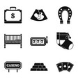 treasure icons set simple style vector image