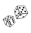 Two Dice Cubes on White Background vector image vector image