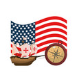 usa flag and ship transport with compass vector image