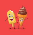 vanilla and chocolate ice cream funny characters vector image vector image