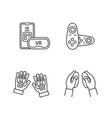 virtual reality devices linear icons set vector image vector image