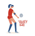 young woman playing volleyball professional vector image